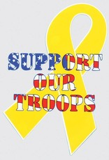 Yellow Ribbon with Support Our Troops Decal