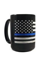 Distressed Thin Blue Line American Flag Mug