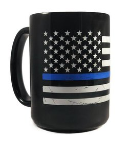 Thin Blue Line Distressed American Flag Mug
