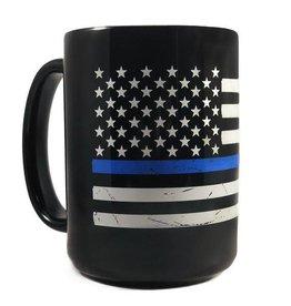 Thin Blue Line Distressed American Flag Mug