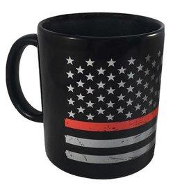 Thin Red Line Distressed American Flag Mug