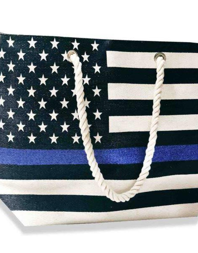 Thin Blue Line Canvas Tote Bag