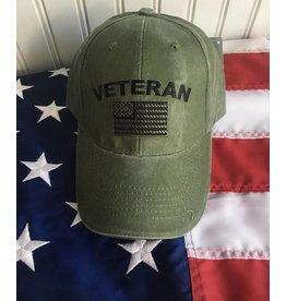 Veteran w/ US Flag Baseball Cap OD