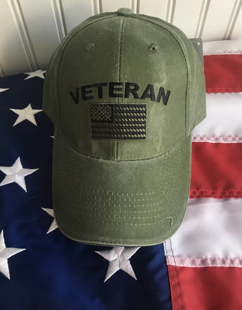 Veteran w/ US Flag Baseball Cap OD
