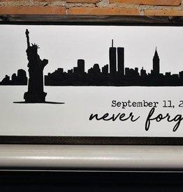 9/11 New York City Skyline Wooden Sign