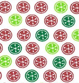 Fabric Finders FF 1697 RED / GREEN CHRISTMAS BUTTON FABRIC