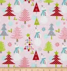 RILEY BLAKE RB C890-01 Pink Snowman Christmas Basics
