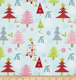 RILEY BLAKE RB c890-03 BLUE SNOWMAN CHRISTMAS BASICS