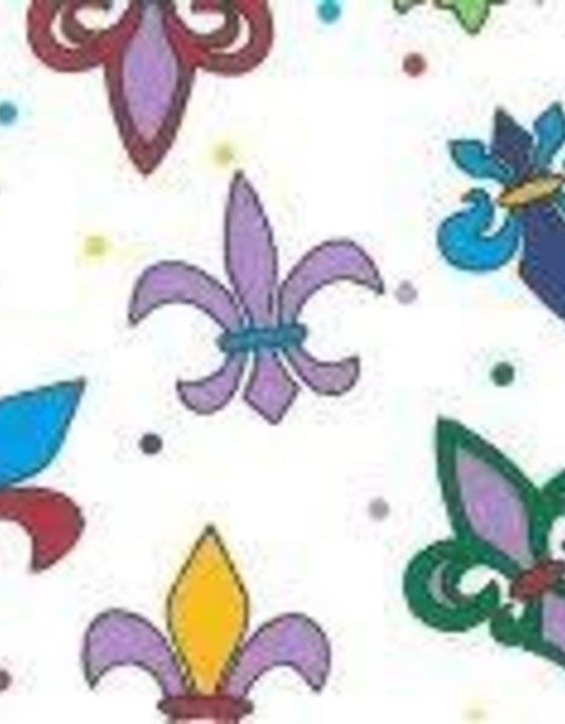 Fabric Finders FF MARDI GRAS FLEUR DE LIS MULTI