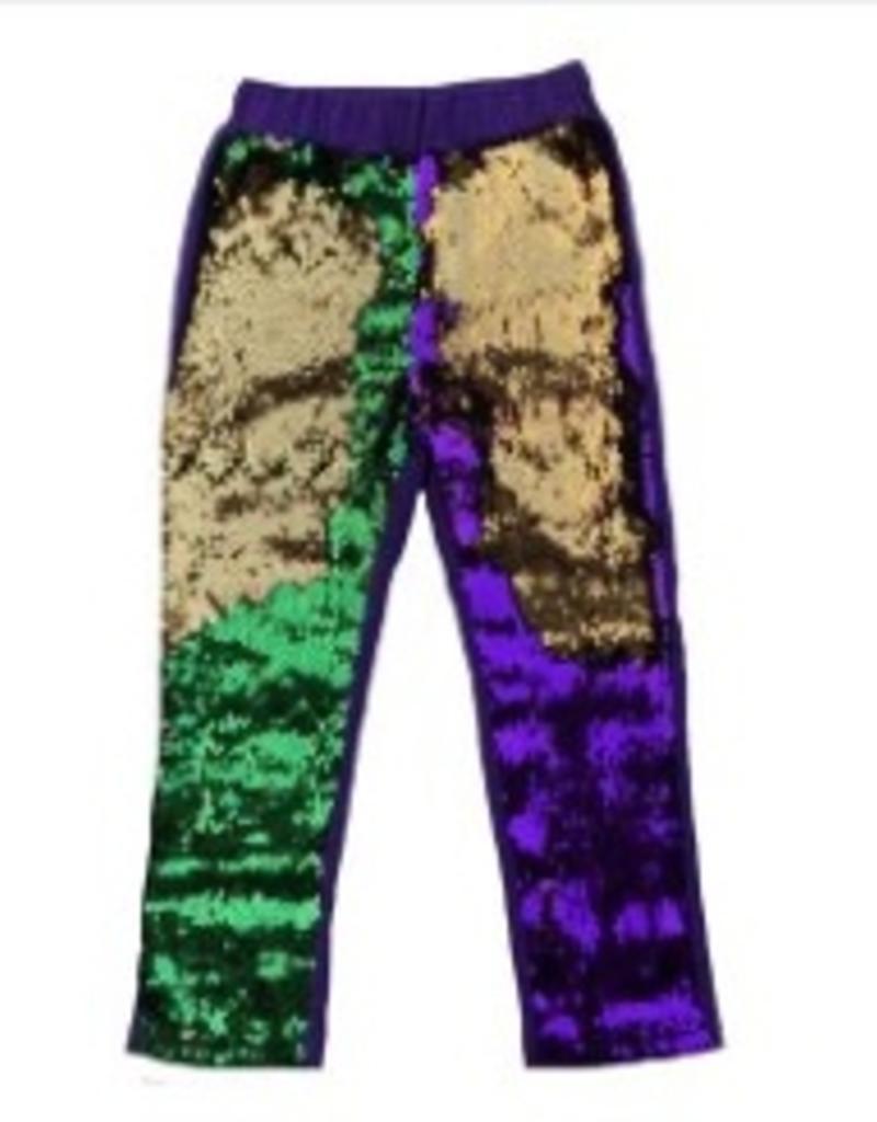 PEANUTS GALLERY WOMENS Mardi Gras FLIP SEQUIN LEGGINGS
