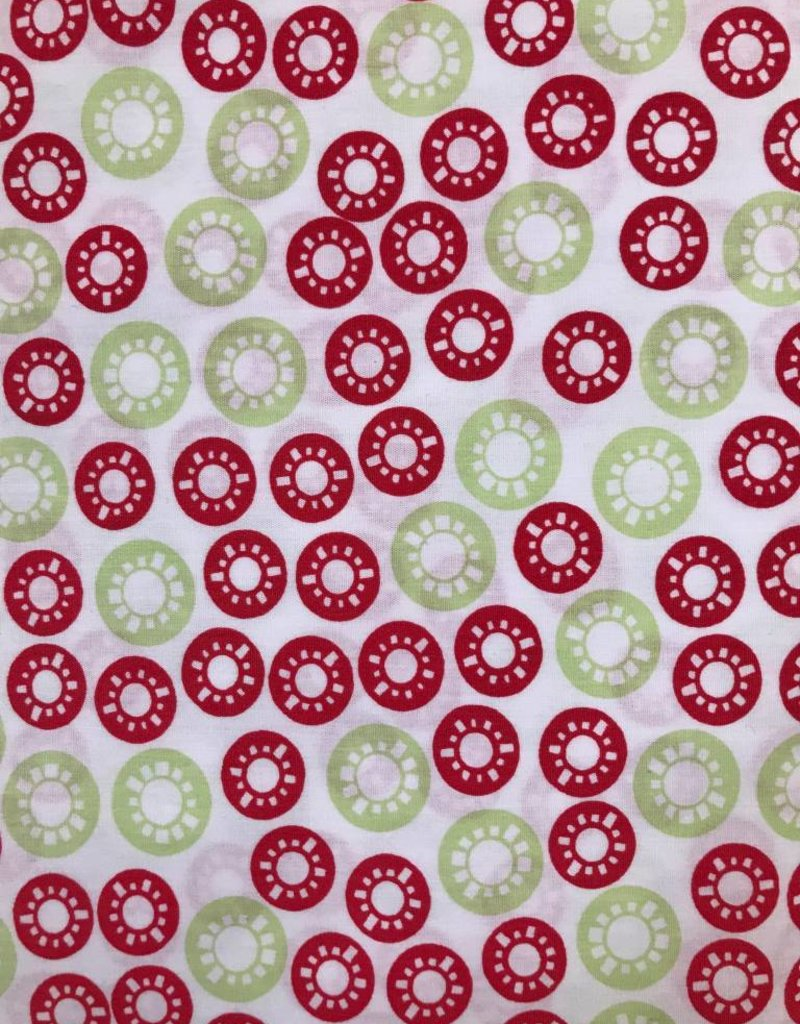 Fabric Finders FF WHITE W/ RED/LIME CIRCLES
