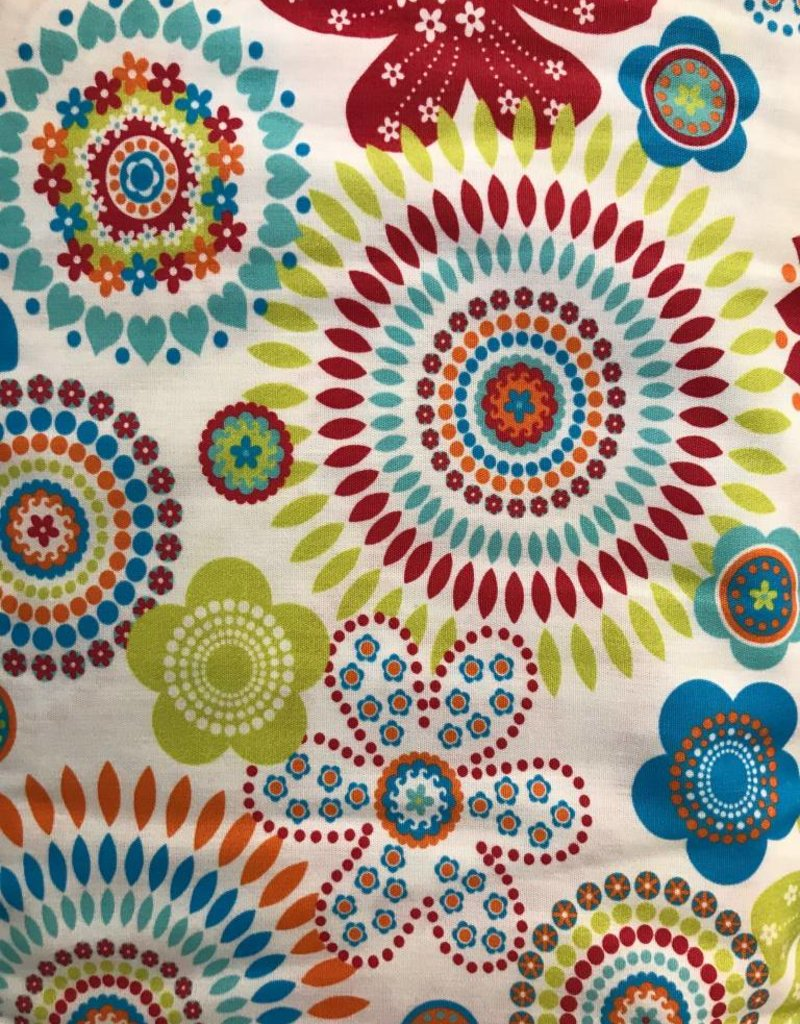 Fabric Finders FF FUNKY FLORAL - TURQ/RED/ORANGE