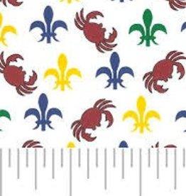 Fabric Finders FF MINI MARDI GRAS FLEUR DE LIS/ CRABS