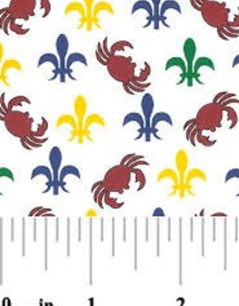 Fabric Finders FF MINI MARDI GRAS FLEUR DE LIS/ CRABS