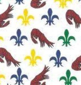 Fabric Finders FF MARDI GRAS MINI SHRIMP/ FLEUR DE LIS
