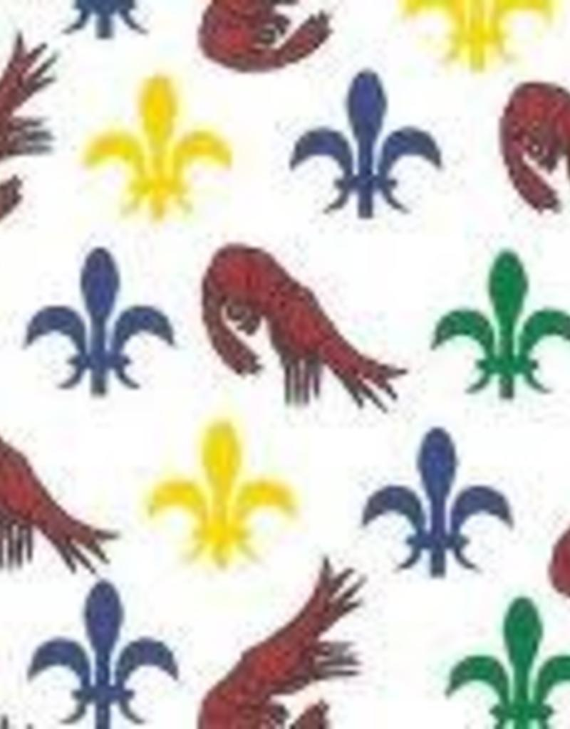 Fabric Finders FF MARDI GRAS MINI SHRIMP/ FLEUR DE LIS