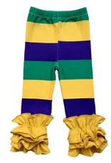 PEANUTS GALLERY Mardi Gras Stripe Ruffle leggings