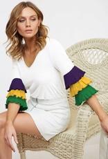 2NE1 Apparel Womens Mardi gras ruffle shirt