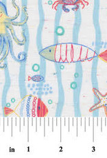 Fabric Finders FF 2191 blue wave ocean creatures