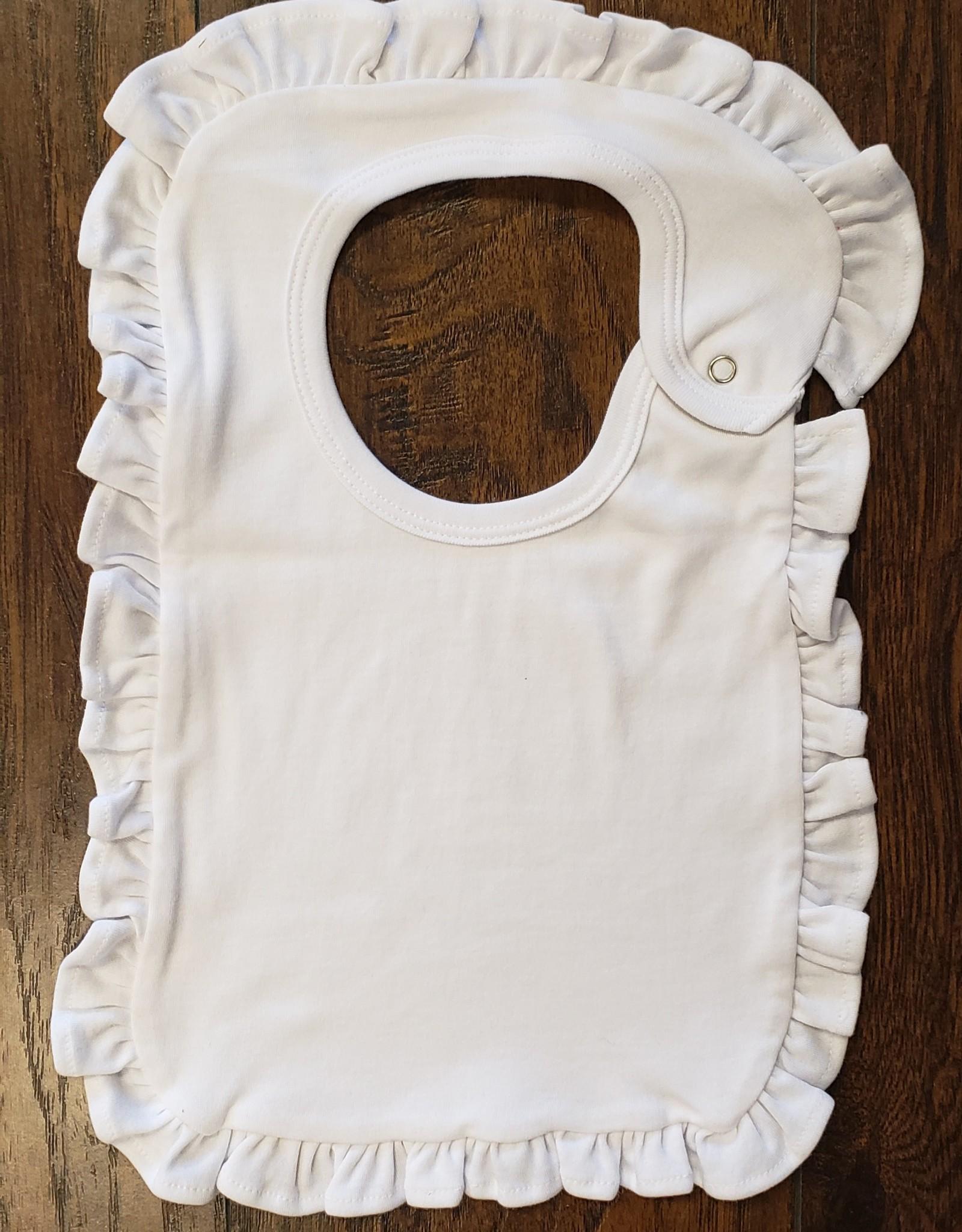 Monag White 100% Cotton Bib with Ruffles