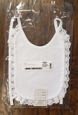 WHITE HAND MADE BIB WITH LACE TRIM