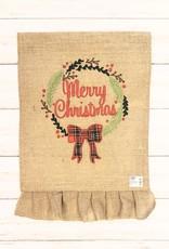 Christmas Wreath Applique Burlap Garden Flag