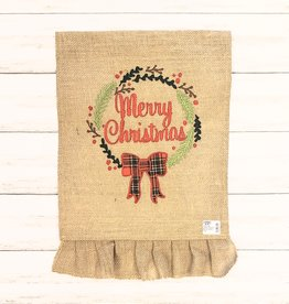 Christmas Wreath Applique Burlap Garden Flag