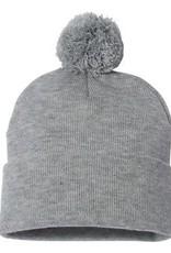 Pom Pom Knit Beanie (Heather Grey)