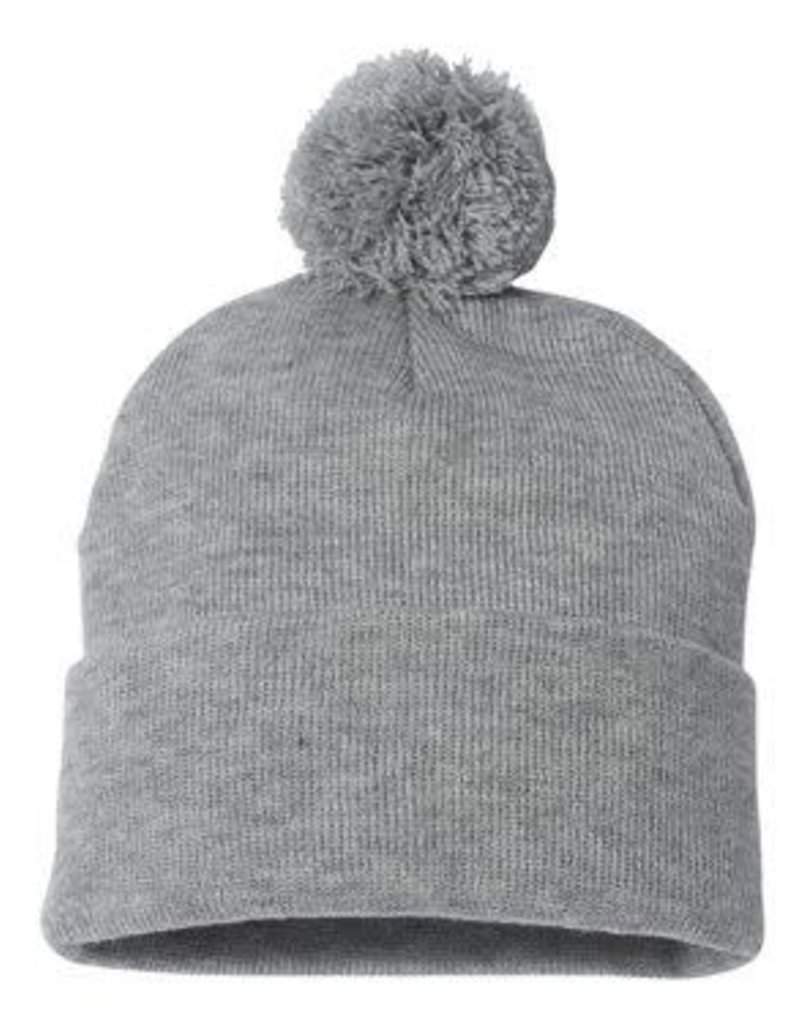 Pom Pom Knit Beanie (Heather Grey)