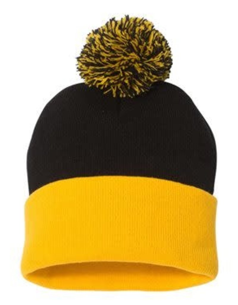 Pom Pom Knit Beanie (Black/Gold)