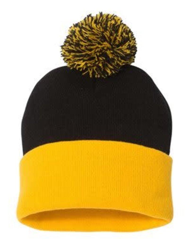 Pom Pom Knit Beanie (Black/Gold)