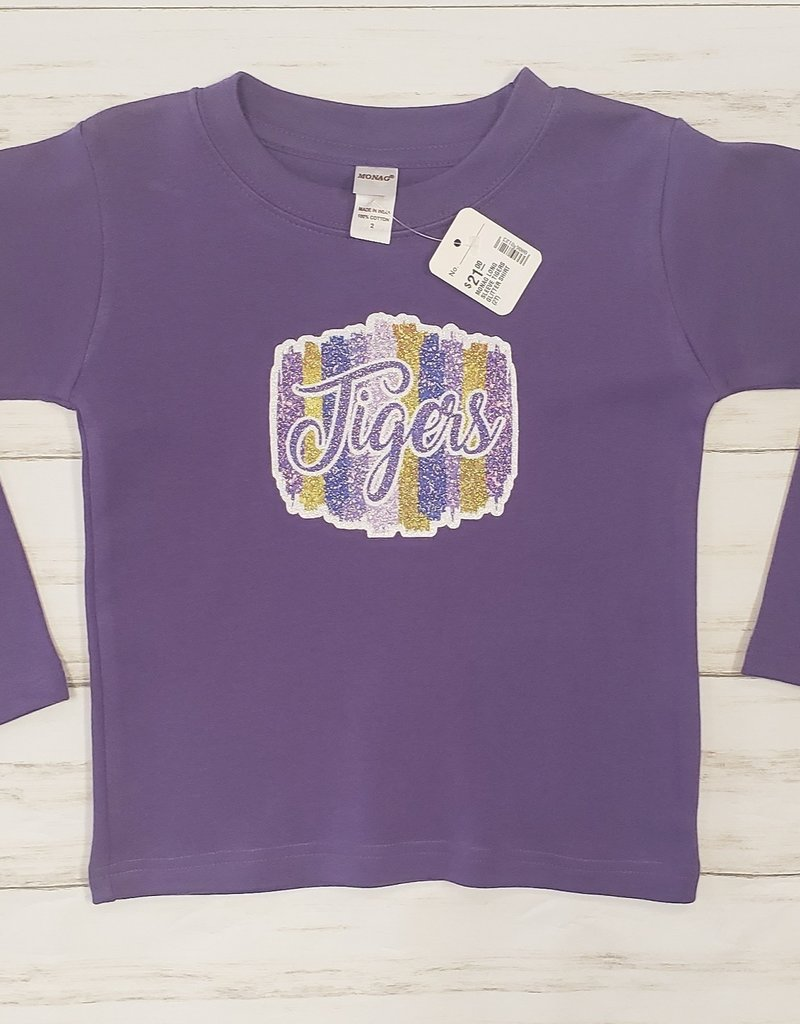 MONAG LONG SLEEVE TIGERS GLITTER SHIRT (2T)