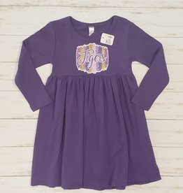 MONAG LONG SLEEVE TIGERS GLITTER EMPIRE DRESS (4T)