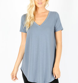 SHORT SLEEVE V-NECK ROUND HEM TOP