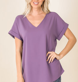 ROLLED SLEEVE V-NECK TOP