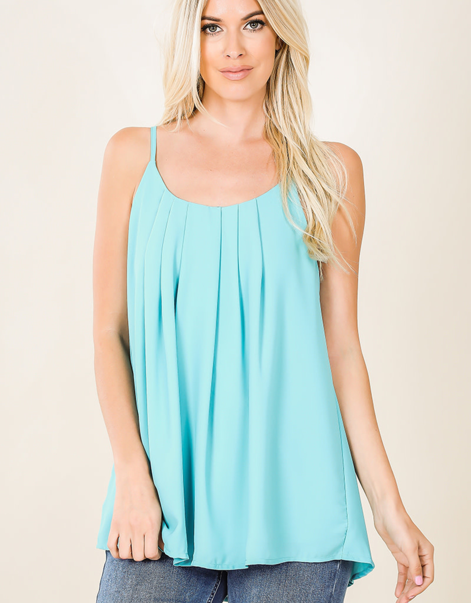 Dobby Pleated Spaghetti Cami w/ Adjustable Straps