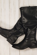 WB Black Leather Boots Size 8
