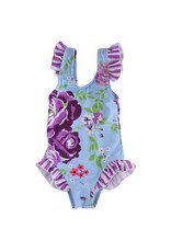 Blue floral girls ruffle swim suit
