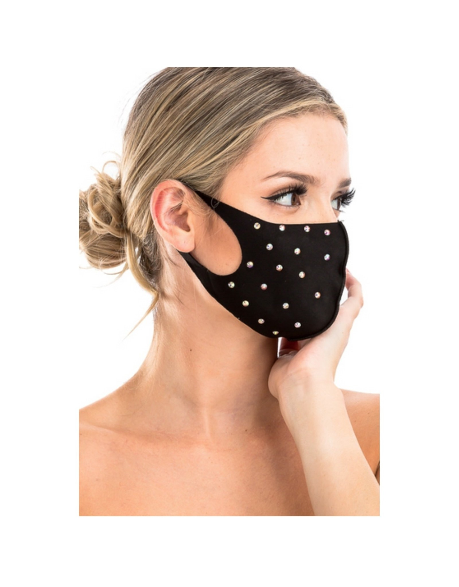 Adult Polyester Stone Studded Black Mask