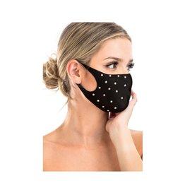 Adult Polyester Stone Studded Black Mask