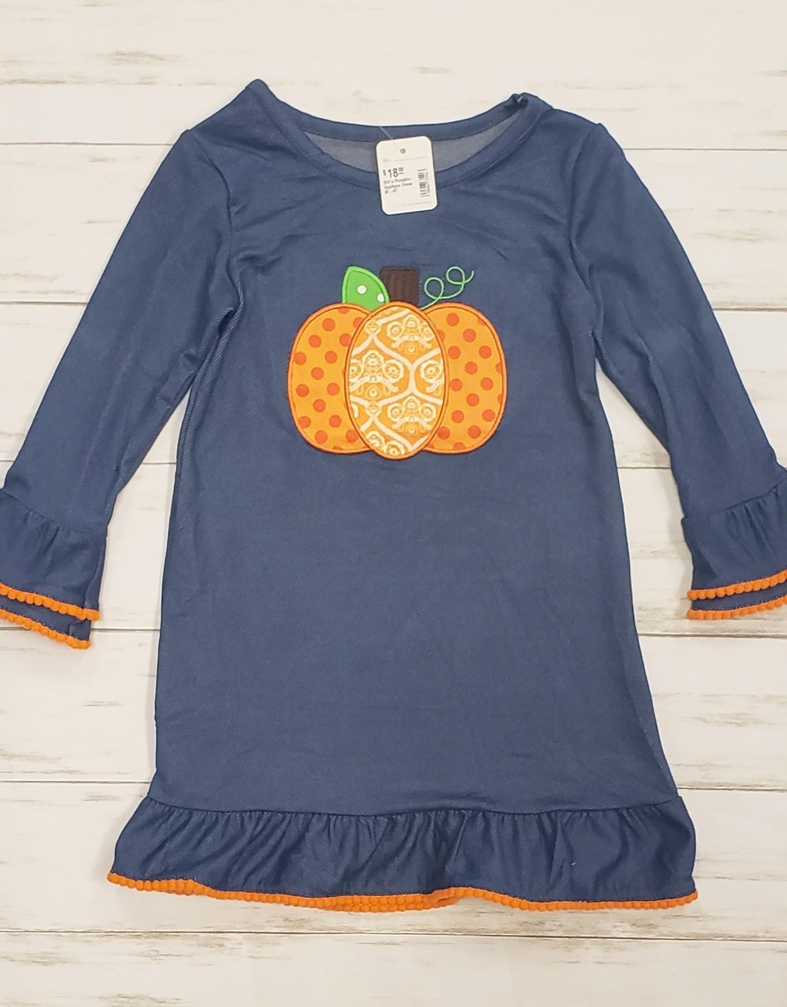 Girl's Pumpkin Applique Dress