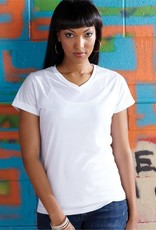 SubliVie - Women's V-Neck White Polyester Sublimation Tee