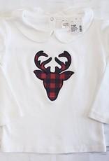 Buffalo Plaid Deer Peter Pan Collared L/S Shirt