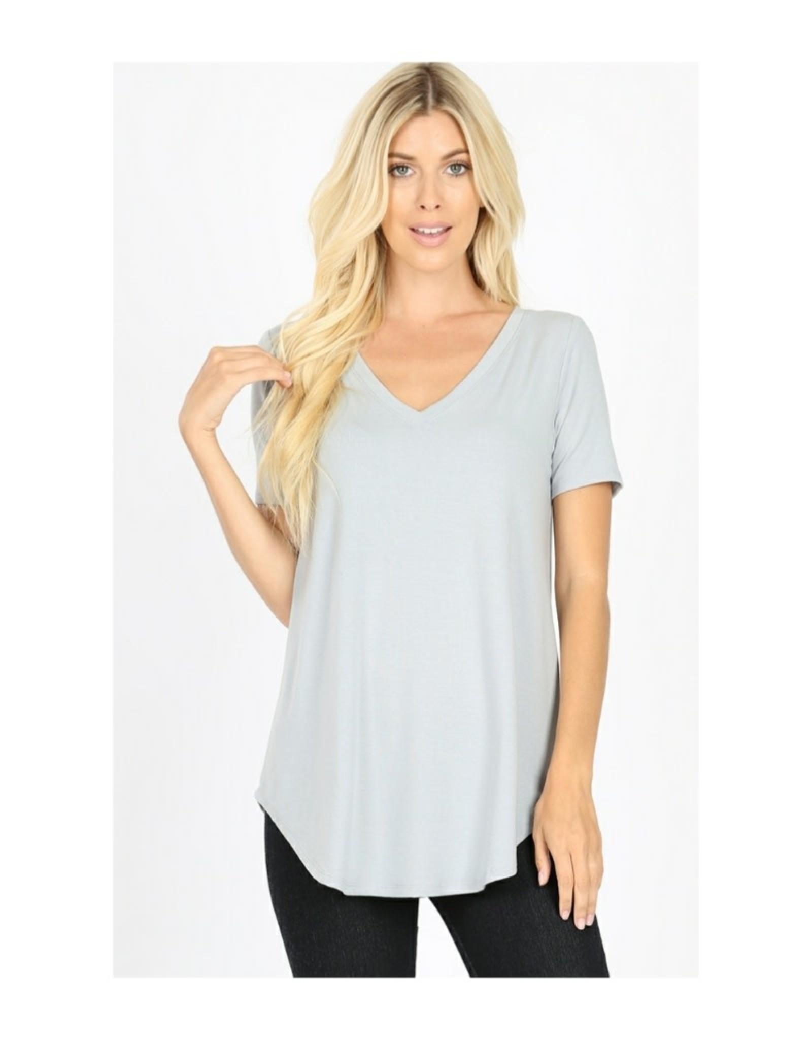 Short Sleeve V-Neck Round Hem Top