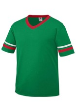 Youth Augusta V-Neck Striped Sleeves Kelly/Red/White
