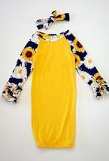 Sunflower Infant Gown w/Headband (6-12 Mth.)
