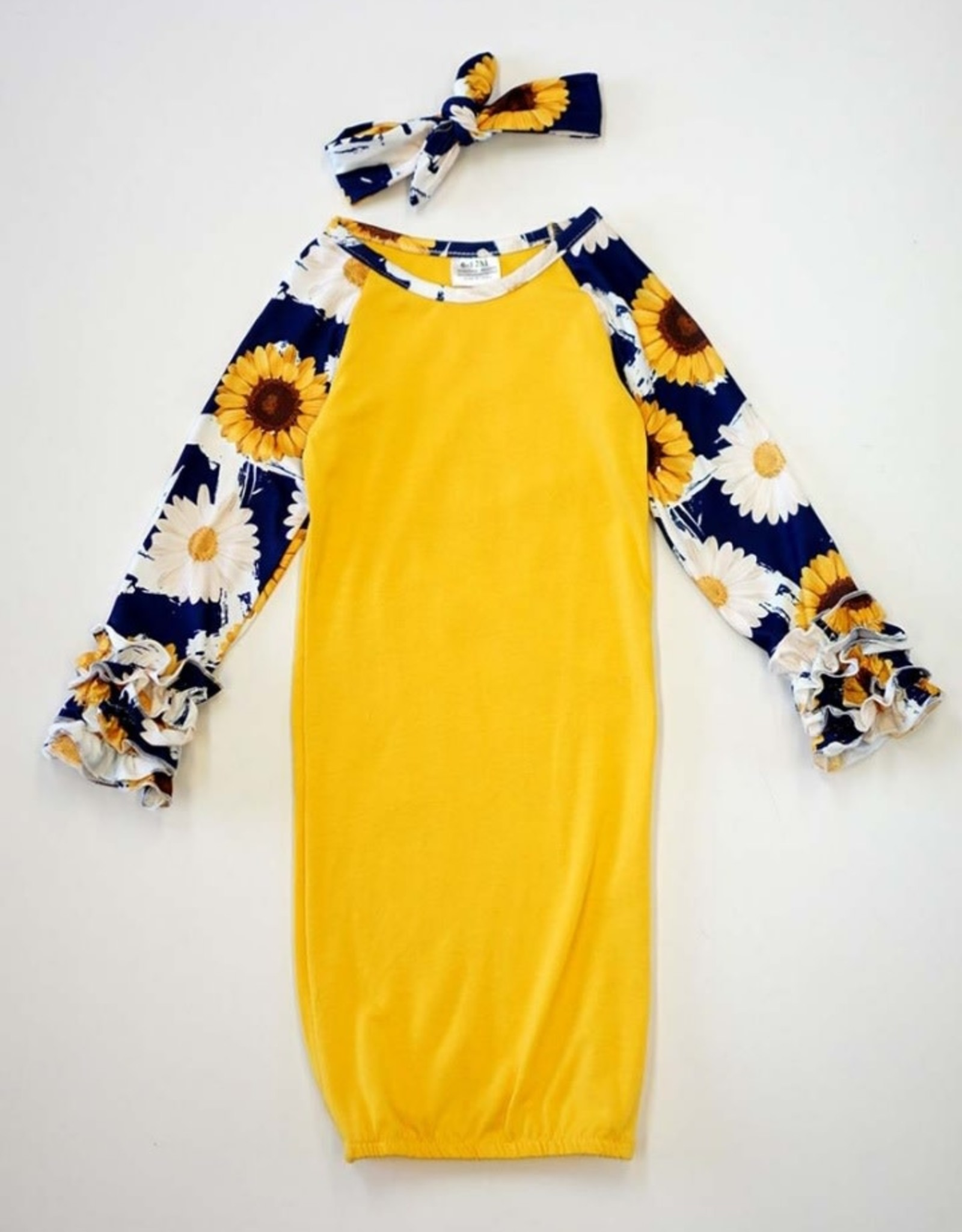 Sunflower Infant Gown w/Headband (6-12 Mth.)