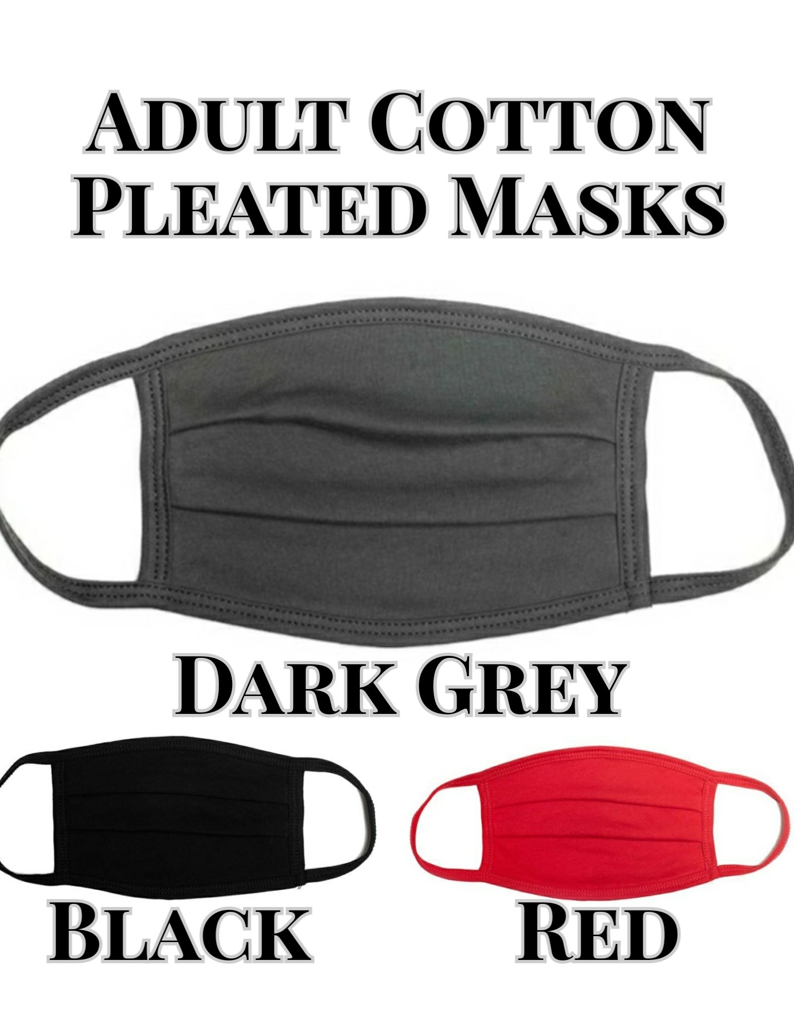Adult Cotton Pleated Face Mask