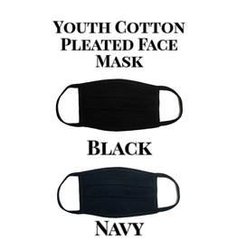 Youth Cotton Pleated Black Mask