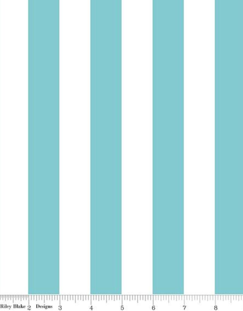 1 INCH STRIPE AQUA FABRIC